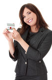 Young beautiful business woman with house model Stock Images