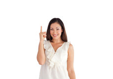 Young Beautiful Business woman pointing upwards Stock Photo