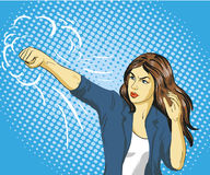 Young beautiful business woman punching and boxing. Concept vector poster in retro comic pop art style.  Stock Images