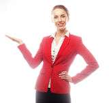 Young beautiful business woman showing blank area Stock Images