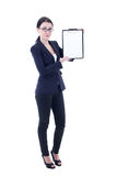 Young beautiful business woman showing clipboard isolated on whi Royalty Free Stock Photography