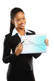 Young beautiful business woman showing the grouth Stock Images