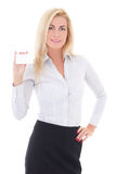 Young beautiful business woman showing visiting card isolated on. White background Stock Photography