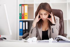 Young beautiful business woman suffering stress working at office asking for help feeling tired royalty free stock image