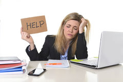 Young beautiful business woman suffering stress working at office asking for help feeling tired Royalty Free Stock Photos