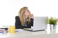 Young beautiful business woman suffering stress working at office frustrated and sad Stock Photos