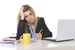 Young beautiful business woman suffering stress working at office frustrated and sad Stock Images