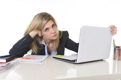 Young beautiful business woman suffering stress working at office frustrated and sad Stock Image
