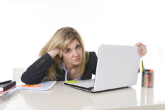 Young beautiful business woman suffering stress working at office frustrated and sad Stock Photo