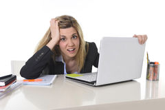 Young beautiful business woman suffering stress working at office frustrated and sad Royalty Free Stock Photo