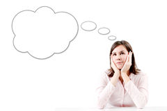 Young beautiful business woman thinking with bubble. royalty free stock photos