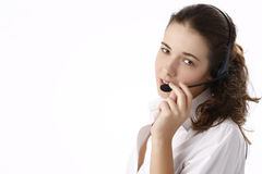 Young Beautiful Business Woman Using Head Phone Royalty Free Stock Photos
