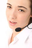 Young Beautiful Business Woman Using Head Phone Stock Photography