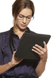 Young beautiful business woman using tablet Royalty Free Stock Photography