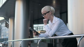 Young Beautiful Business Woman Using Tablet PC Outside  Center Stock Photography