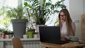 Young beautiful business woman working behind her laptop in a bright room. stock video footage