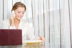 Young beautiful business woman working with laptop i Royalty Free Stock Images