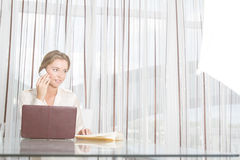 Young beautiful business woman working with laptop i Stock Photos