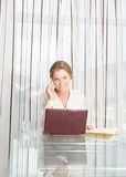 Young beautiful business woman working with laptop i Royalty Free Stock Photo