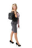 Young beautiful businesswoman. Young beautiful girl, a businesswoman with a briefcase on the white background Stock Image