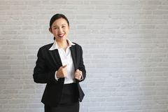 Young beautiful businesswoman being ready to work royalty free stock photography