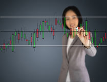 A Young beautiful businesswoman drawing a graph Royalty Free Stock Photo