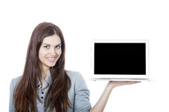 Young Beautiful Businesswoman Holding a Laptop Stock Image