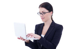 Young beautiful businesswoman with laptop isolated on white Royalty Free Stock Photos
