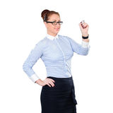 Young beautiful businesswoman with pen writing whiteboard Stock Photo
