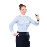 Young beautiful businesswoman with pen writing whiteboard Royalty Free Stock Image