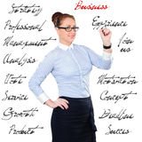 Young beautiful businesswoman with pen writing whiteboard Royalty Free Stock Images