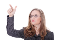 Young beautiful businesswoman pointing  Royalty Free Stock Photos