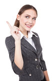 Young beautiful businesswoman pointing at copy space advertisement - Stock Image Stock Photos