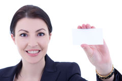 Young beautiful businesswoman showing visiting card isolated on Royalty Free Stock Photo
