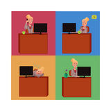 Young and beautiful businesswoman sitting at office desk. Working on laptop, talking by phone, having nap, cartoon vector illustration. Blond businesswoman at Stock Images