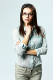 Young beautiful businesswoman wearing glasses standing Stock Photos