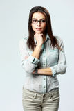 Young beautiful businesswoman wearing glasses standing Royalty Free Stock Photo