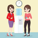 Businesswomen Water Cooler. Young beautiful businesswomen talking near water cooler at work on break time drinking water vector illustration