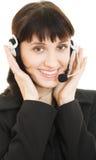 Young beautiful call center female operator Stock Photos