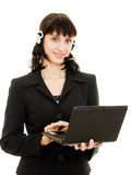 Young beautiful call center female operator Royalty Free Stock Image