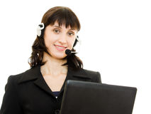 Young beautiful call center female operator Royalty Free Stock Images