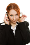 Young beautiful call center female operator Stock Images