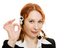 Young beautiful call center female operator Royalty Free Stock Photography