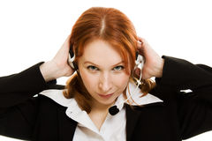 Young beautiful call center female operator Stock Photo