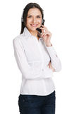 Young beautiful call center operator Stock Photos