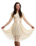 Young beautiful caucasian brunette in dress Royalty Free Stock Photo