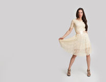 Young beautiful caucasian brunette in dress Royalty Free Stock Images