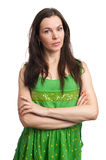Young beautiful caucasian brunette in dress Royalty Free Stock Photos