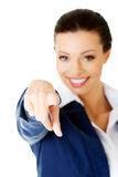 Young beautiful caucasian business woman pointing on you Royalty Free Stock Photography