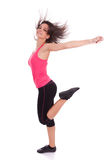 Young beautiful caucasian  fitness woman dancing Stock Photography